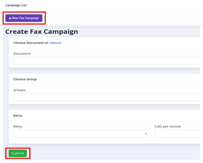 create new fax campaign
