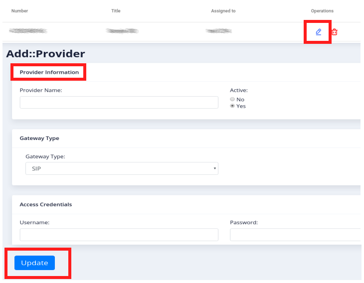 edit provider information