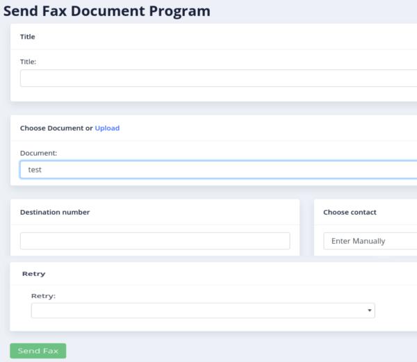 Send fax form